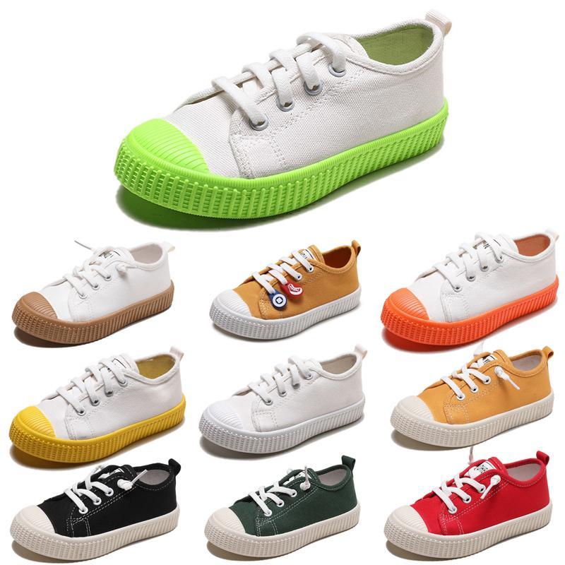 Enfants à bas prix non Marque Chaussures de toile Garçons Filles Slip enfant sur Biscuit Chaussures Casual Orange Rouge Noir Vert Whtie bonbons Couleurs 20-31 Style 1