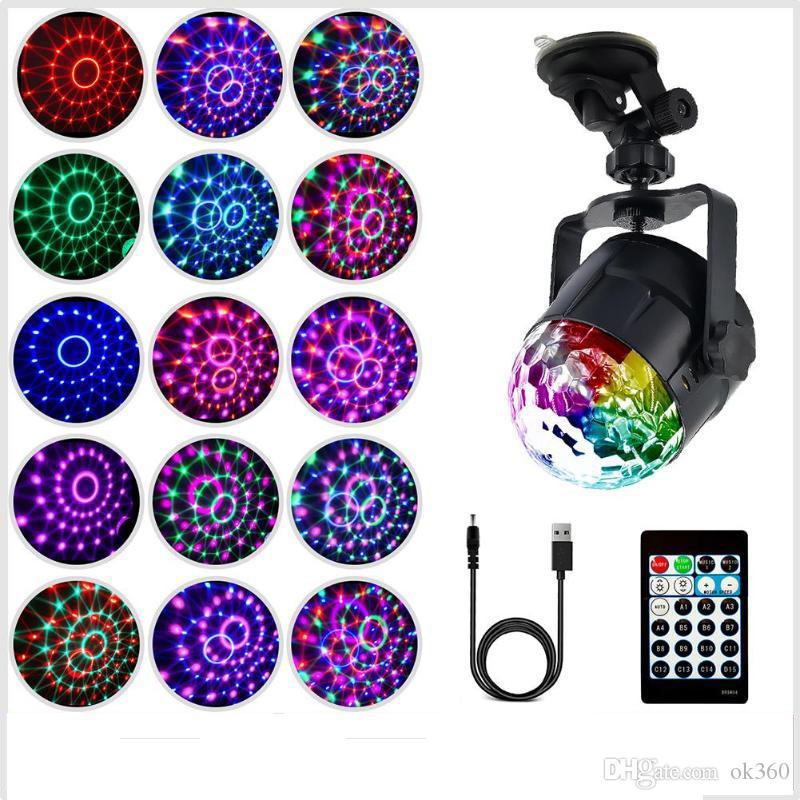 15 Cores LED IR RGB Remoto LEVOU de Cristal Magia Girando Luzes de Palco Bola USB 5 V colorido ktv DJ light disco de luz de controle de Música