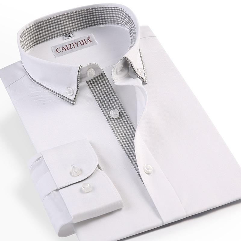 Caiziyijia Men Double Layer Class Dress Shirts Plaid Patchwork Design Long Sleeve Standard-fit Non-Iron Cotton Mens Shirt