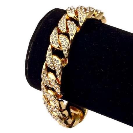 20cm Hommes De Luxe CZ Cristal De Mode Bracelets Bracelets Or Couleur Glacé À Miami Cubain Bracelet Hommes Hip Hop Rock Bijoux