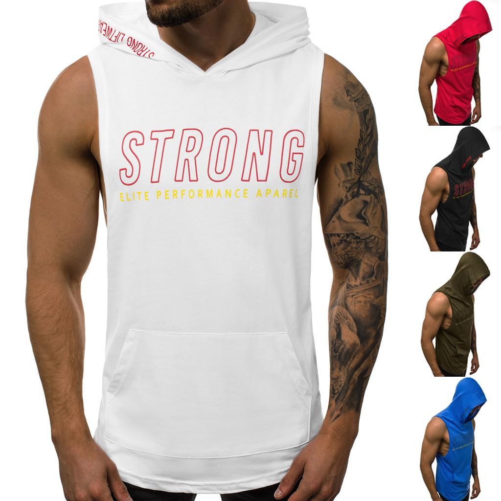 Camisas sin mangas Hombres sin mangas Camisa de fitness Estampado de hombres Fitness Sport Chaleco de corte slim Camiseta sin mangas Camisa corta Culturismo