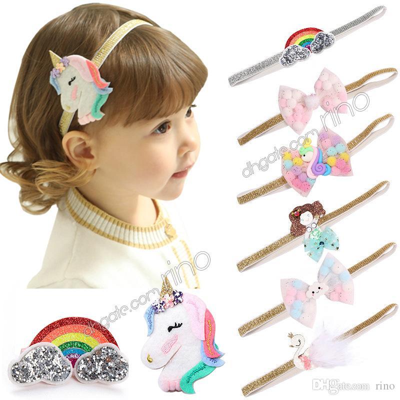 Baby girls unicorn headbands Clips Baby Girls Cartoon Rainbow Hairband Hairpins Barrettes set for Kids Unicorn Horn Party Hair Accessories