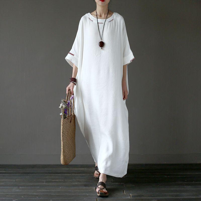 Acheter Taille Solide White Plus Linen Broderie Femmes Robe Longue Robe Originale Surdimensionnee Ete Linen Marque Robe Longue Femme A042 De 36 47 Du Freea Dhgate Com
