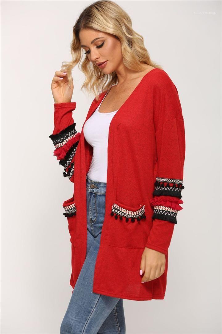 Womens Maglioni con pannelli di contrasto di colore a maniche lunghe cardigan da donna maglioni di marca con le tasche autunno Ruffle manica inverno