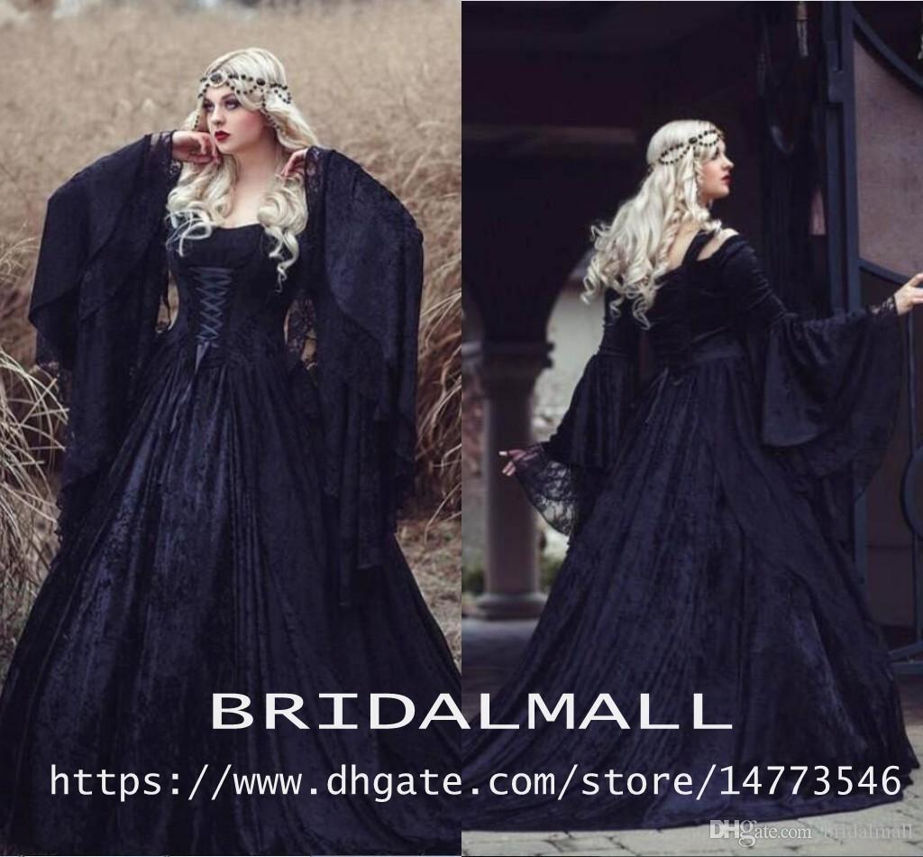 Vintage Black Gothic Hallowen Lace Princess Vestidos de novia 2019 Plus Tize Off-Hombro Castillo de manga larga Capilla Capilla Tren nupcial Bodas de novia