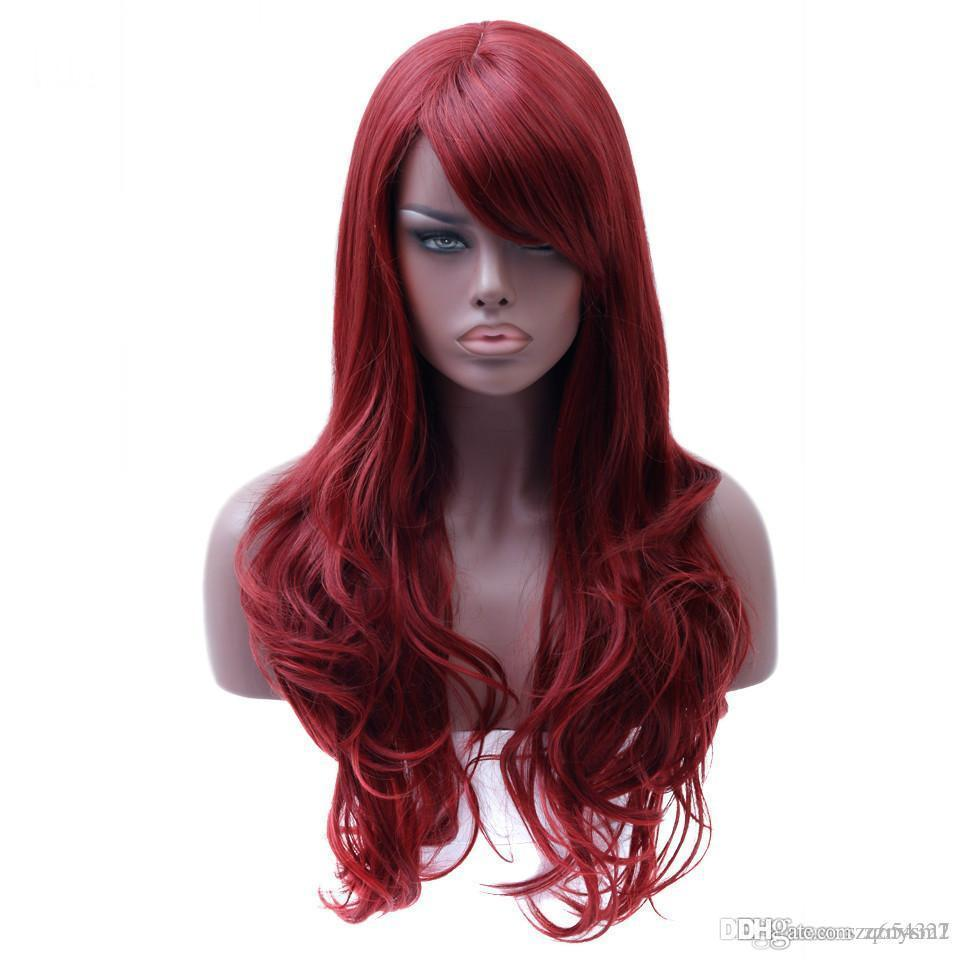 lace wig Long Wavy Red Wig Womans Heat Resistant Synthetic Female Wigs For Black White Women Fake Hair Pieces