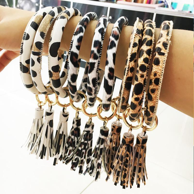 Leopardo impresión de cuero pulsera pulsera llavero borla tassel pu pulseras de cuero o llavero anillo círculo brazalete pulsera llavero llavero accesorios de joyería