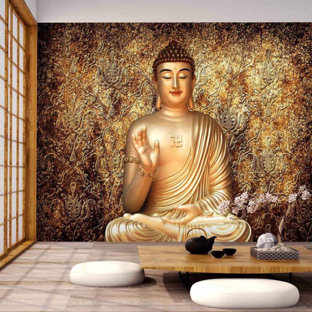 3D / 5D Wand buddhistische Wandmalerei Tempel Buddha-Bild Dekorative Tapete wie Buddha Bodhisattva Hotel Hintergrund