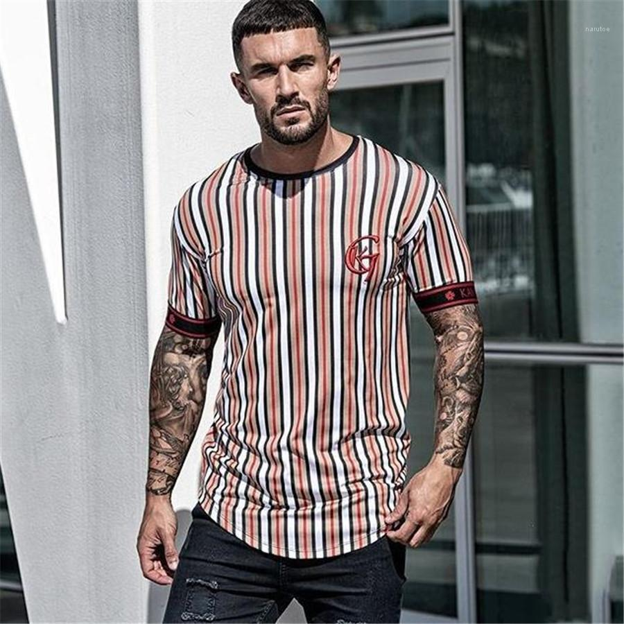 Streetwear Hiphop Slim Homme T-shirts à manches courtes Designer ras du cou Homme T-shirts Stripe été des hommes T-shirts