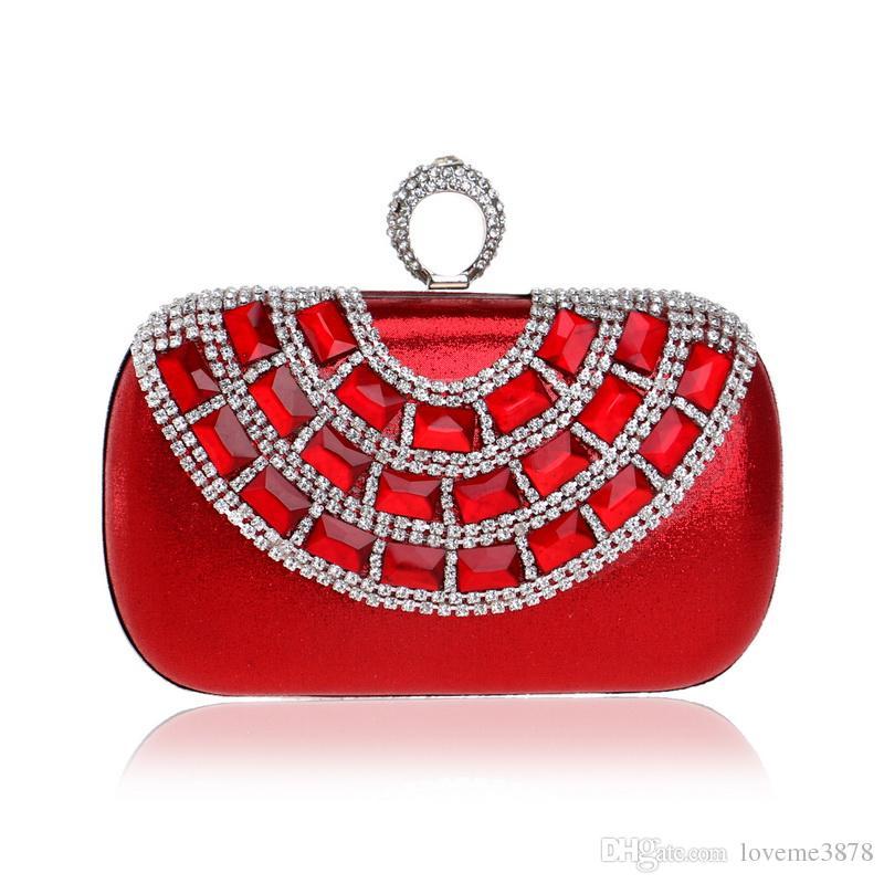 Finger Ring Diamonds Luxurious Evening Bags Rhinestones Bling Women Clutches Chain Shoulder Female Handbags Purse