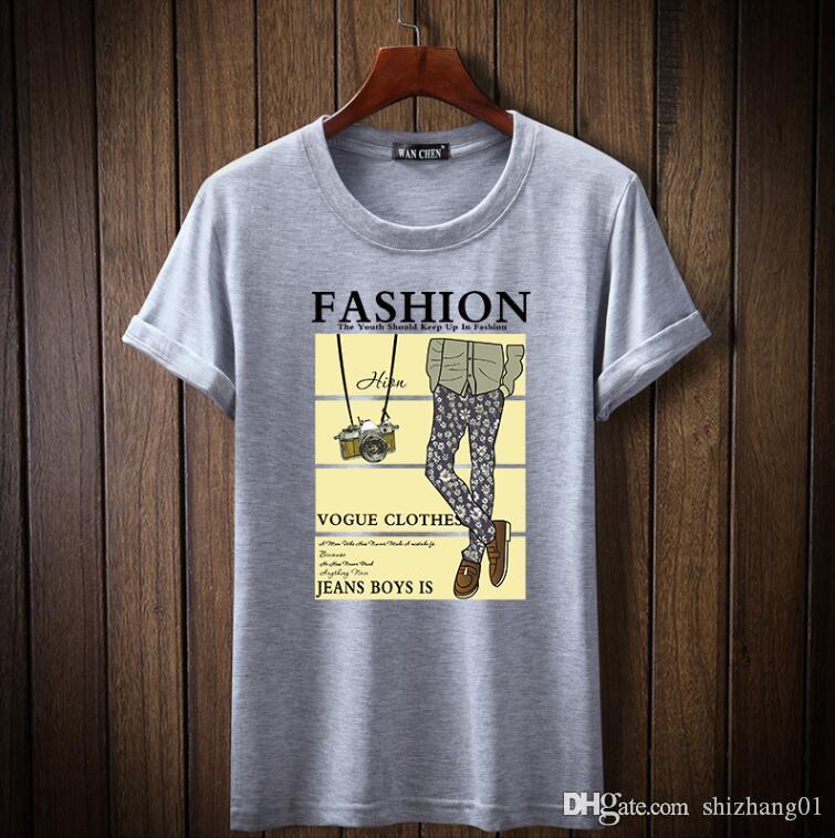 Nouveau mode T-shirt décontracté à manches courtes 100% coton confortable impression casual hommes respirant T-shirt A4