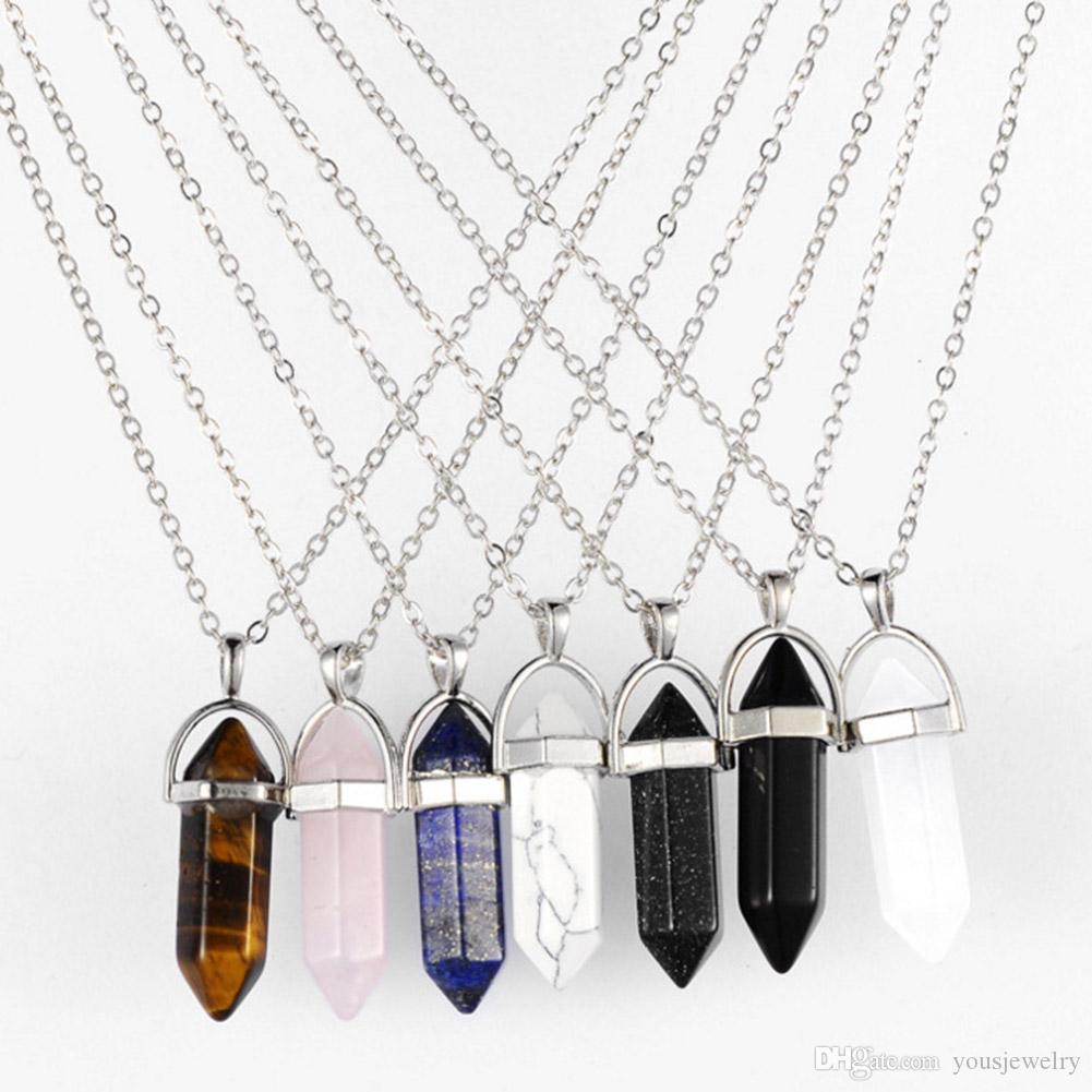 Wholesale Jewellery UK 5 Mixed Shape Natural Gemstone Necklaces on Chain
