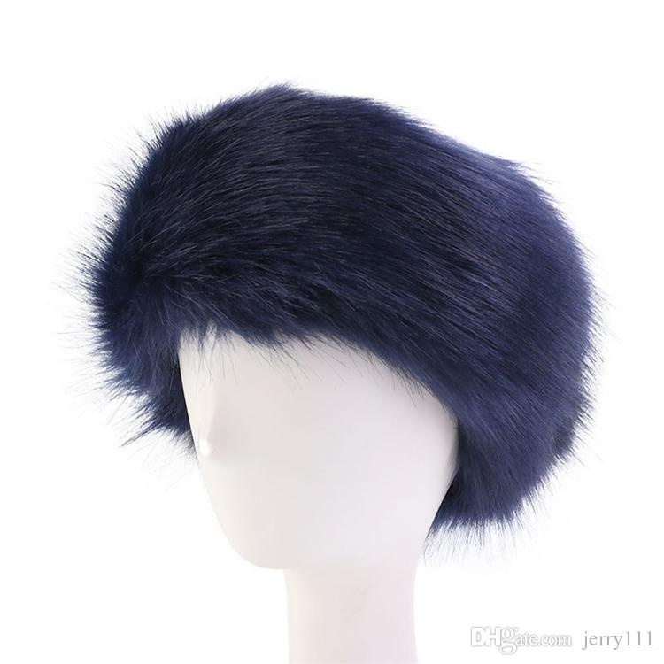 7 couleurs des femmes en fausse fourrure d'hiver bandeau femmes luxe wrap tête de mode peluche Earmuffs Cover accessoires pour cheveux en gros JY865