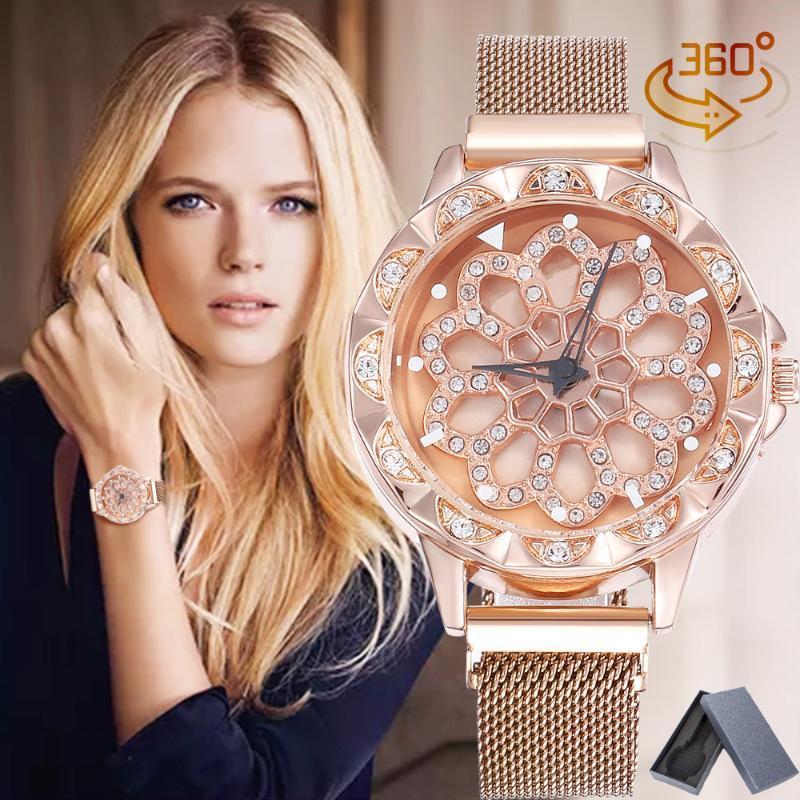Venda quente Sorte Mulheres de pulso Relógios Rosa de Ouro Rotating Flower Relógios Moda Diamond caixa de relógio de quartzo + Magnetic