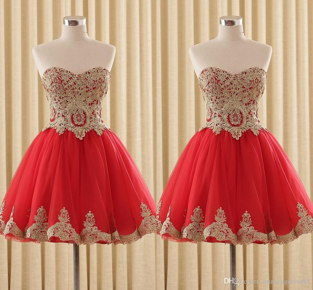 Red and Gold Embellished Short Cheap Cocktail Prom Dress Sweetheart Sequins Corset Back Tulle Designer Homecoming Party Dress Cheap