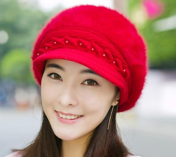 7 Выбор цвета художник согреться Жемчужина Кролик берет шляпу для зимних женщин держать горячий мода Женская берет шляпа повседневная купол ню шляпа