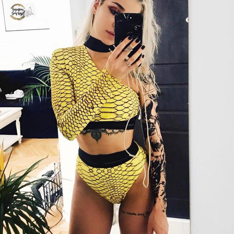 Womens Body remiendo amarillas de un hombro Trajes de tablero de ajedrez Femme Body flaco ropa de playa de moda de la tela escocesa del cuerpo de la gota libre