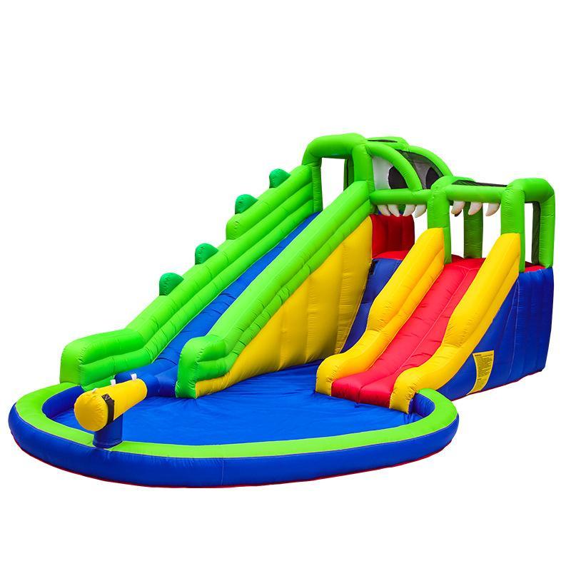 Crocodile Swamp Water Slide For Kids Happy Hop Design Inflatable Slide Water Park Kids Pool Bounce House