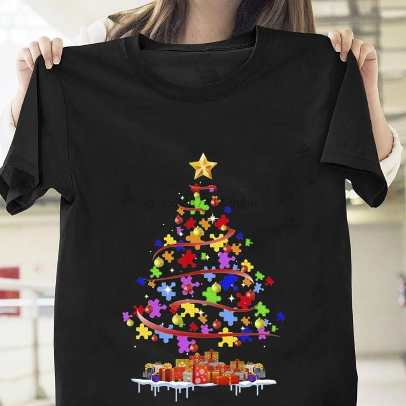 Verano O-cuello CottonAutism conciencia del árbol de navidad camiseta Navidad Negro regalo de algodón para hombres S-6XL camiseta