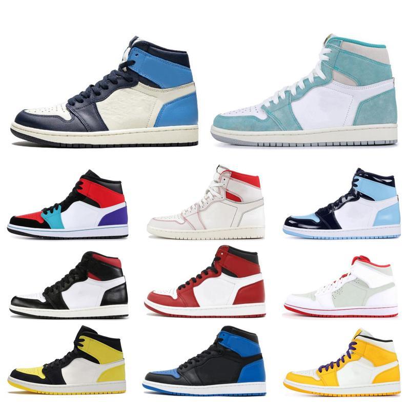 2020 1 Haut UNC Hommes Femmes chaussures de basket-ball Turbo vert Obsidian sans Peur PHANTOM formateurs jaunes hommes blancs chaussures de sport