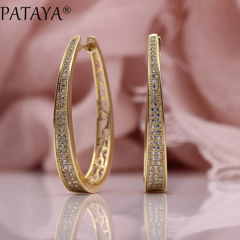 Pataya New Irregular Big Circle Earring Women Fashion Jewelry 585 Rose Gold White Micro Wax Inlay Natural Zircon Dangle Earrings Y19062703