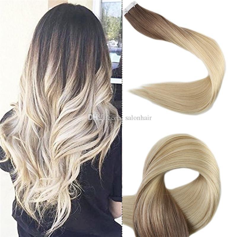 ombre에서 Balayage 인간의 머리카락 확장 테이프 밝은 갈색 및 블라운 박리에 금발의 금발 테이프 remy straight 50g 20pcs
