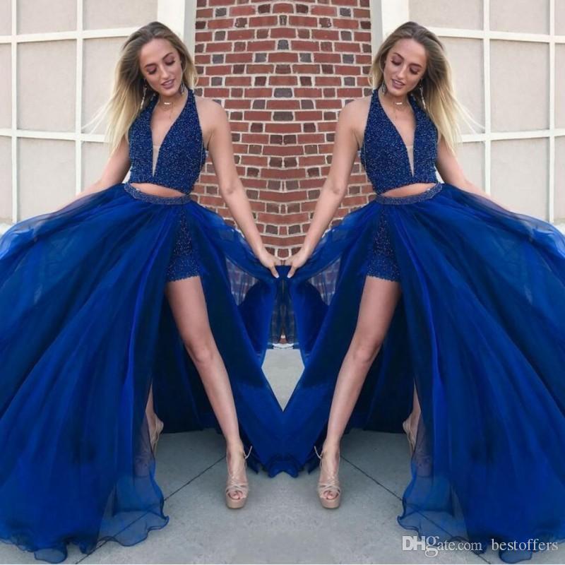 2019 Blau Perlen Kristalle Zwei Stücke Prom Kleider Pailletten Neckholder Frauen Overalls Strass Tüll Junoir Mädchen Formale Abendkleider