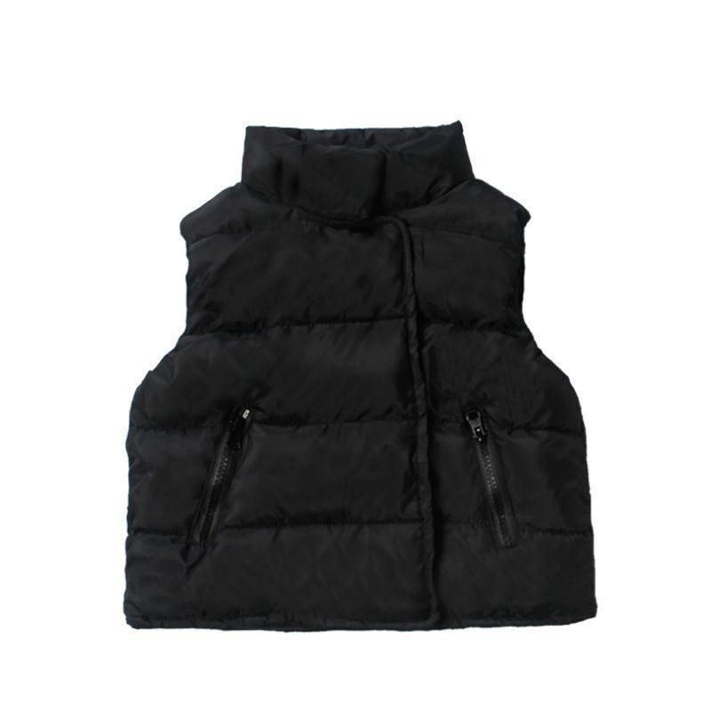 2019 Kış Çocuk Yelek Erkek Kız Beyaz / Siyah Kolsuz Pamuk Standı Yaka Yelek Coat 2-7Yrs Çocuk Giyim Isınma Kalınlaşmak