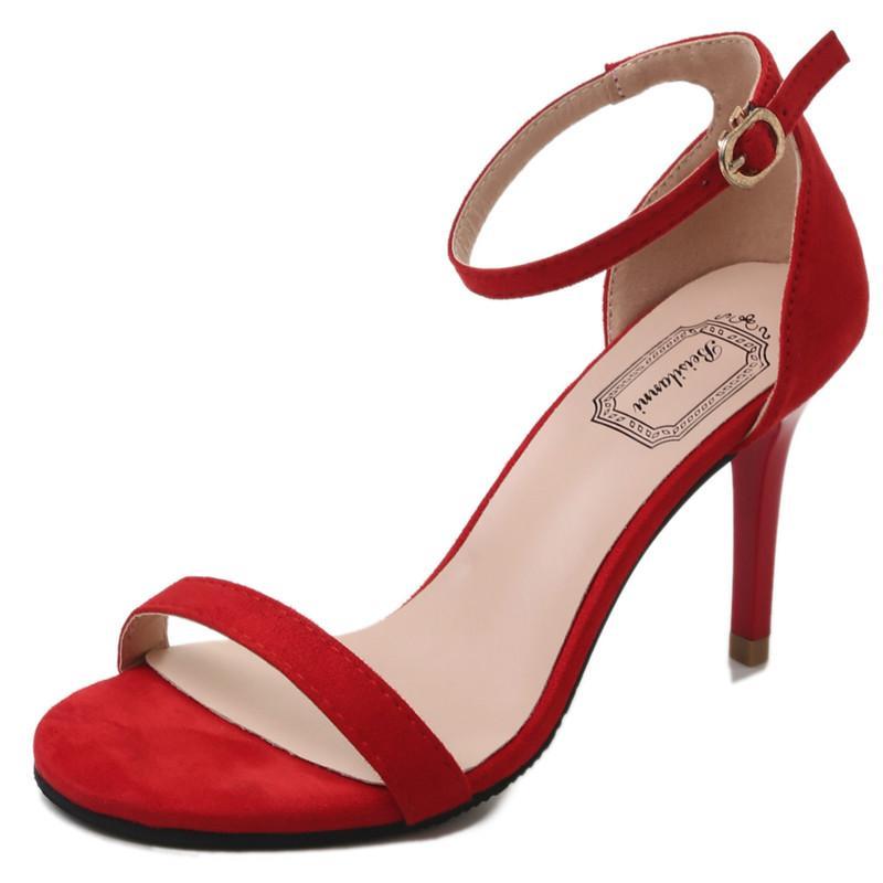 Vorne offener Schuh Red High Heel Sandaletten Aprikose Schwarz Heeled Hochzeit Schuhe Riemchen Abendkleid Heels Damen-Sommer-Schuhe 2020