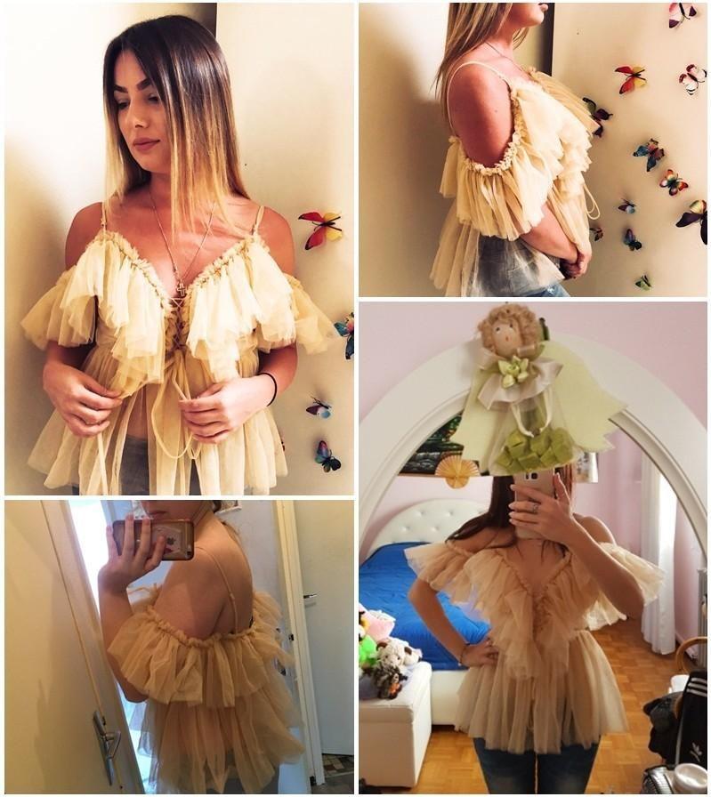 Plissee Rüsche Vintage Schößchen Bluse Top Frauen aus Schulter Netzbluse Shirt Sommer 2018 Sexy ärmelloses Hemd Blusas