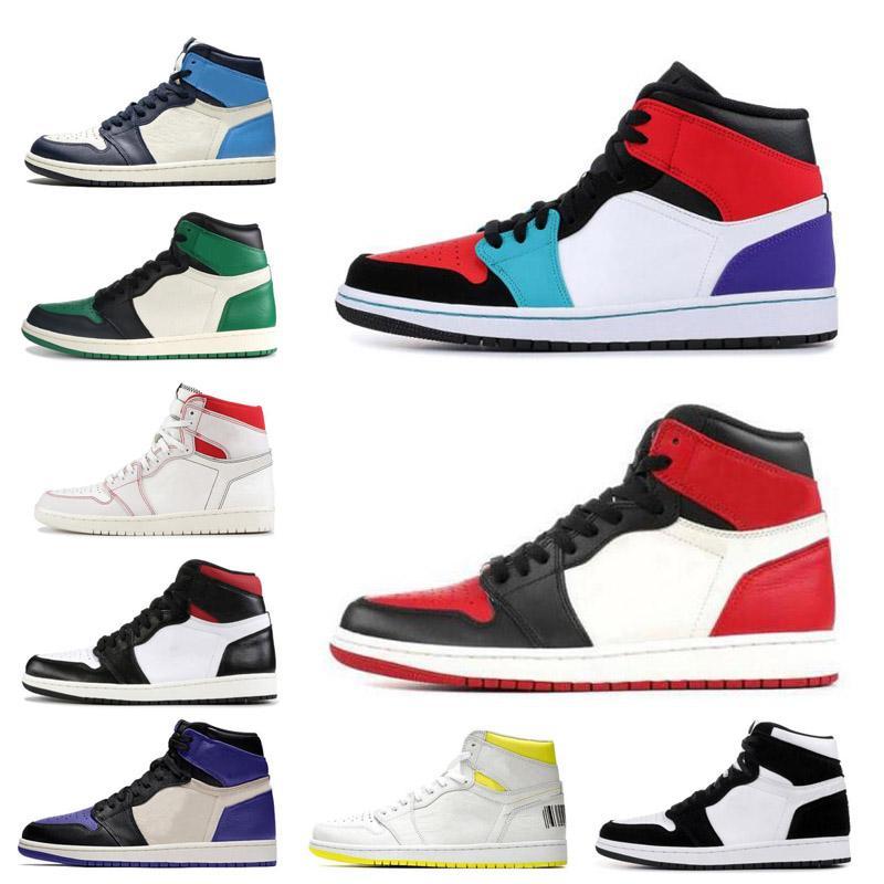 Los hombres calientes zapatos de las mujeres de baloncesto de 1 1s múltiples colores sin miedo Sin miedo del dedo del pie Bred Hare Torsión Gimnasio Rojo UNC hombres formadores zapatillas deportivas