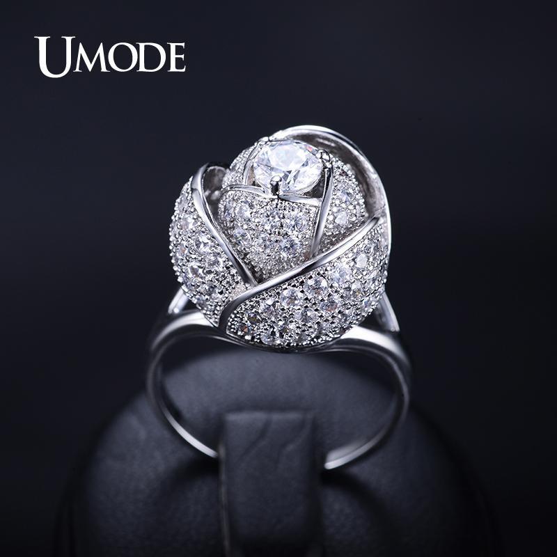 Umode Марка Мода Новый Стиль Женщины Кольцо Родий Цвет Розы Цветок Женское Кольцо С 5 мм 0.5ct Cz Камень Благородный Дизайн Кольцо Ur0081 J190715