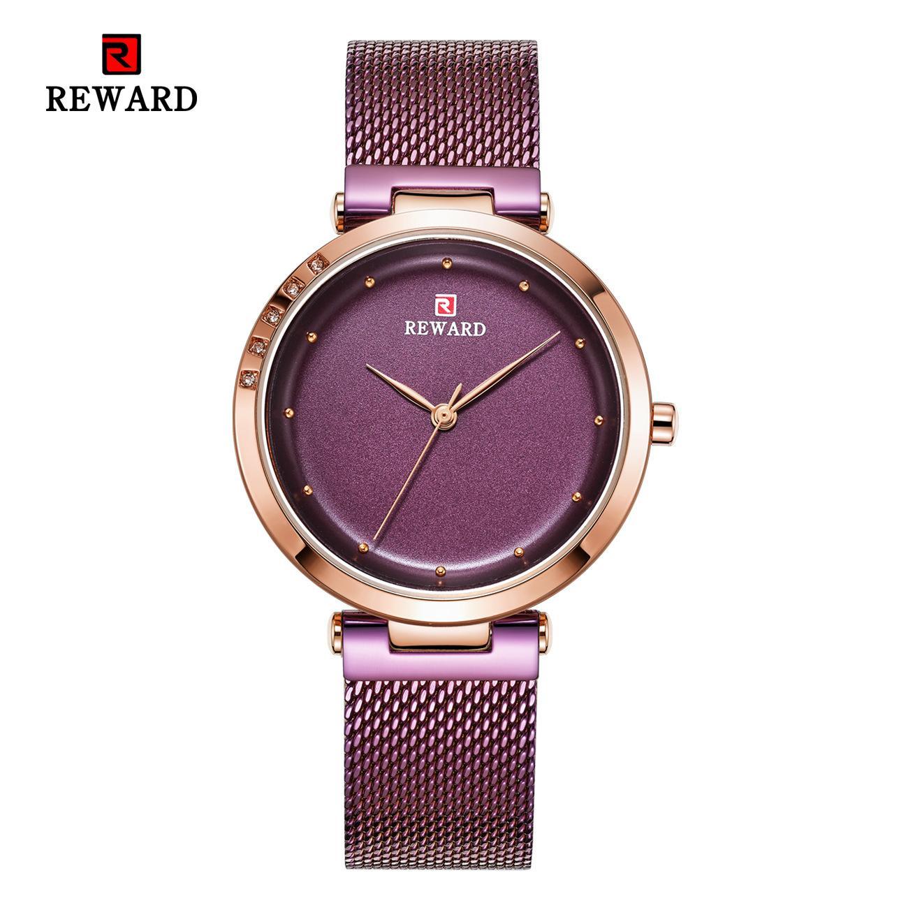 Belohnung Frauennetzband wasserdicht Quarz Mode Freizeit Damen-Armbanduhr