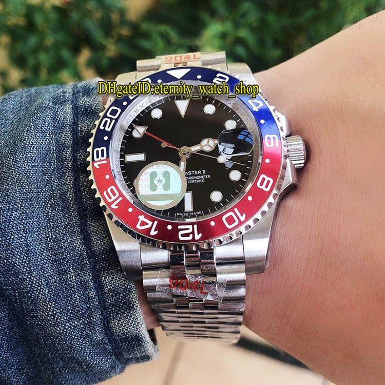 H 공장 높은 품질 버전 GMT Workin 티타늄 금속 베젤 126710BLRO-0001 블랙 다이얼 자동 시계 시계 사파이어 유리 스포츠 시계