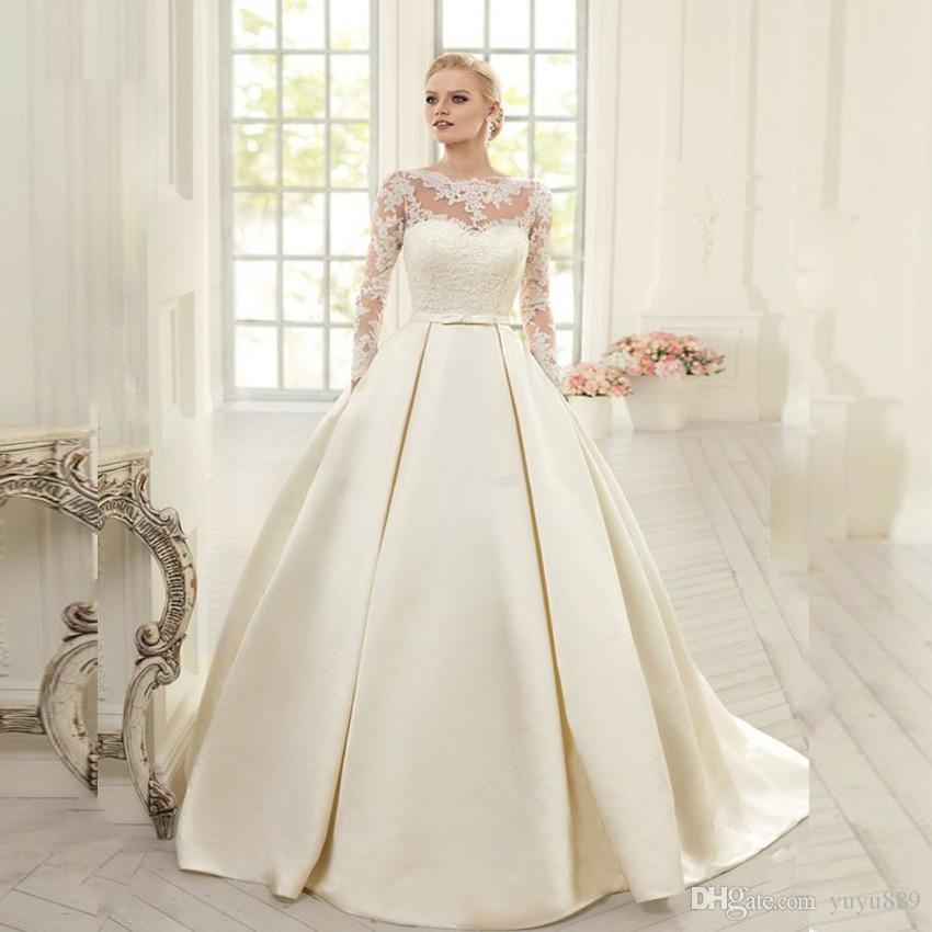 Elegância Árabe Vestidos De Casamento Vestidos Country Sters Sheer Custom Formal Vestido de Novia Vestido Bridal Plus Size Bride Ball