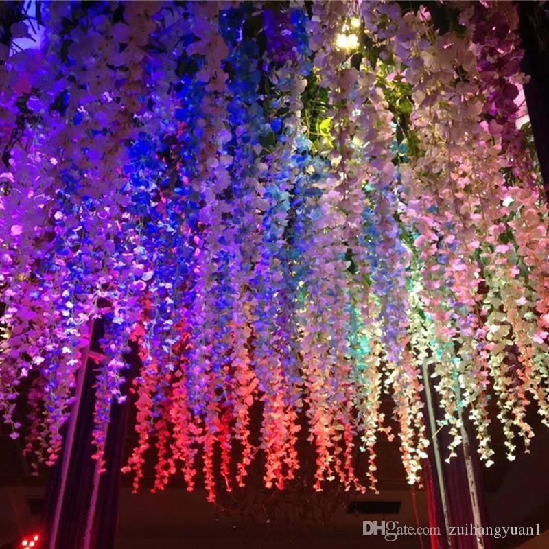 인공 등나무 가짜 꽃을 매달려 포도 나무 실크 단풍 꽃 벽 잎 환 식물원 결혼식 장식한 색상 선택