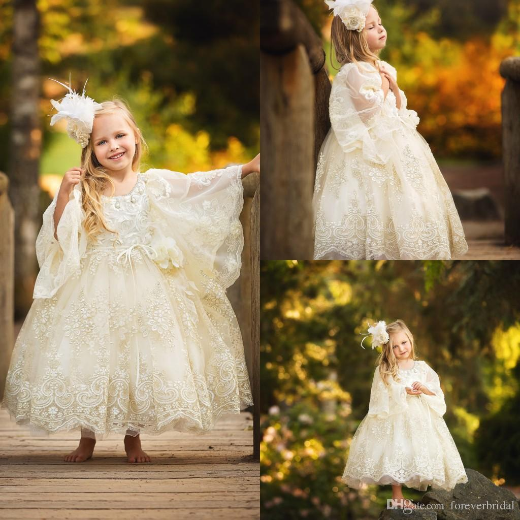 Little Princess Flower Girls Dresses Lace Appliques Ball Gowns Long Sleeves For Wedding Beading Jewel Neck Ankle Length Birthday Party Dress