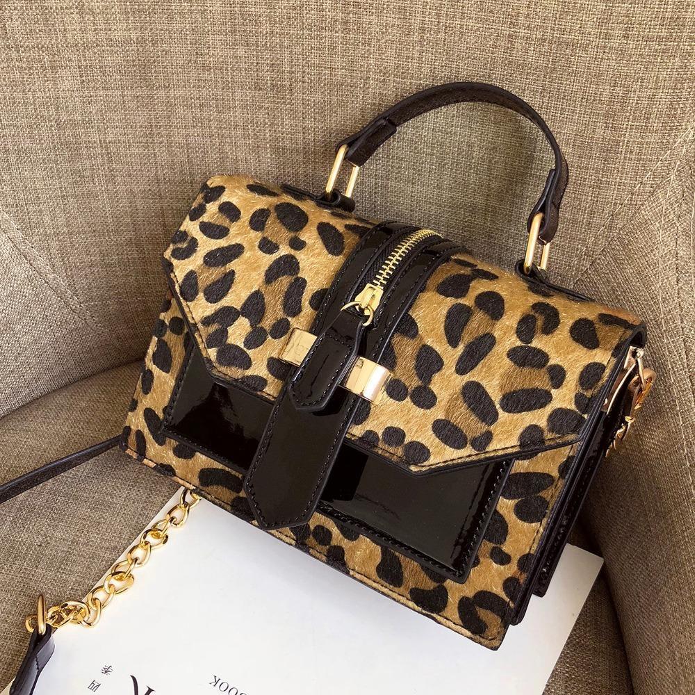 Leopard Crossbody Designer pour les femmes avec fermeture éclair Ladies sacs à main de luxe de la chaîne porte-monnaie en cuir Et Petit sac à bandoulière Bolso