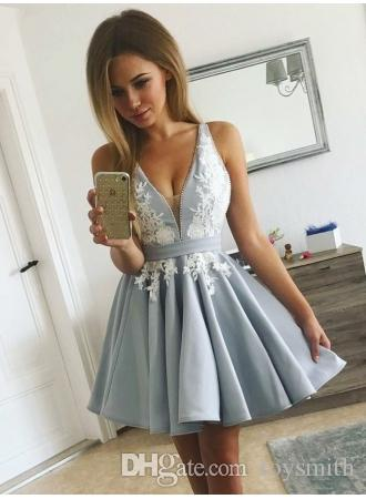 2019 Sexy Sleeveless Delicate V-neck Appliques Pearl Custom Made Beads Homecoming Dress A-line Short Formal Dress