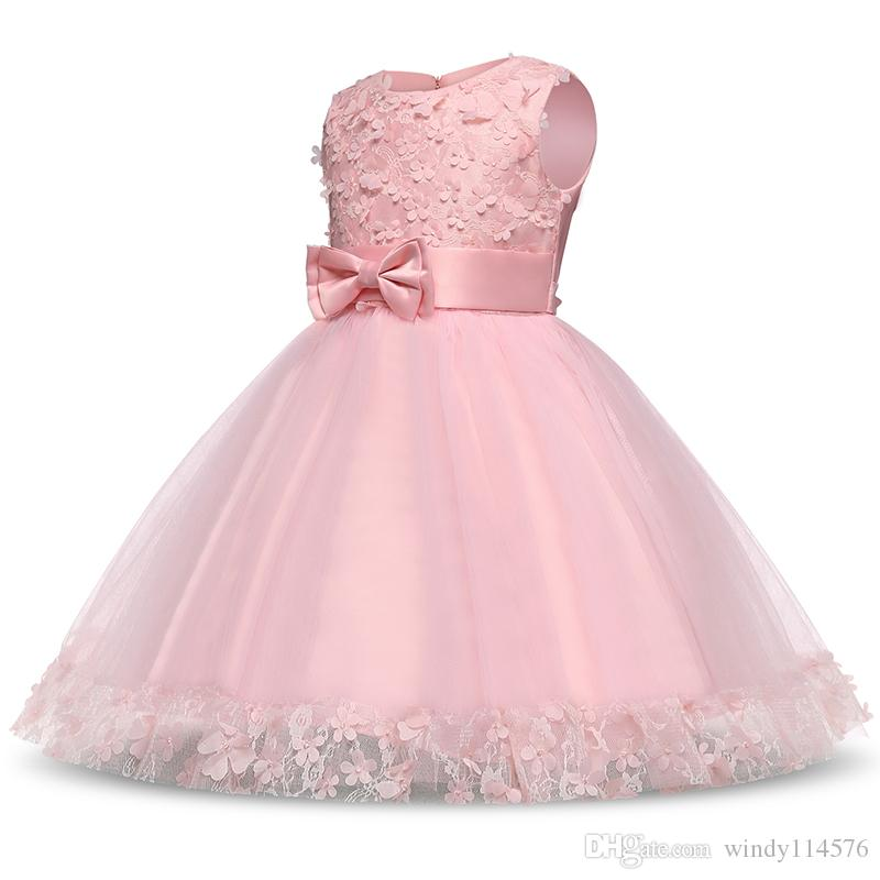 New Pink Flower Girls Dress Bow Princess Wedding Birthday Party Kids Clothes