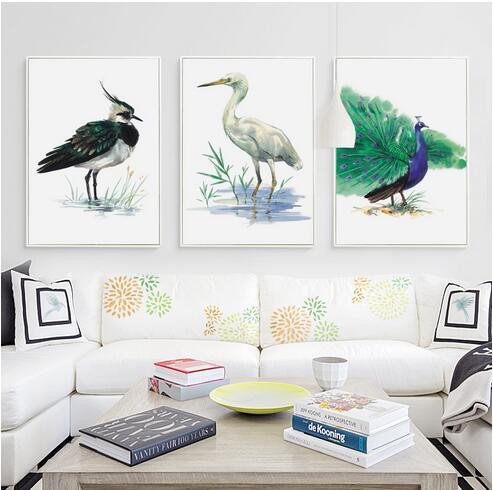 Elegante poesia bonita da aguarela minimalista moderno pássaro parede arte decoração venda quente popular poster 66556