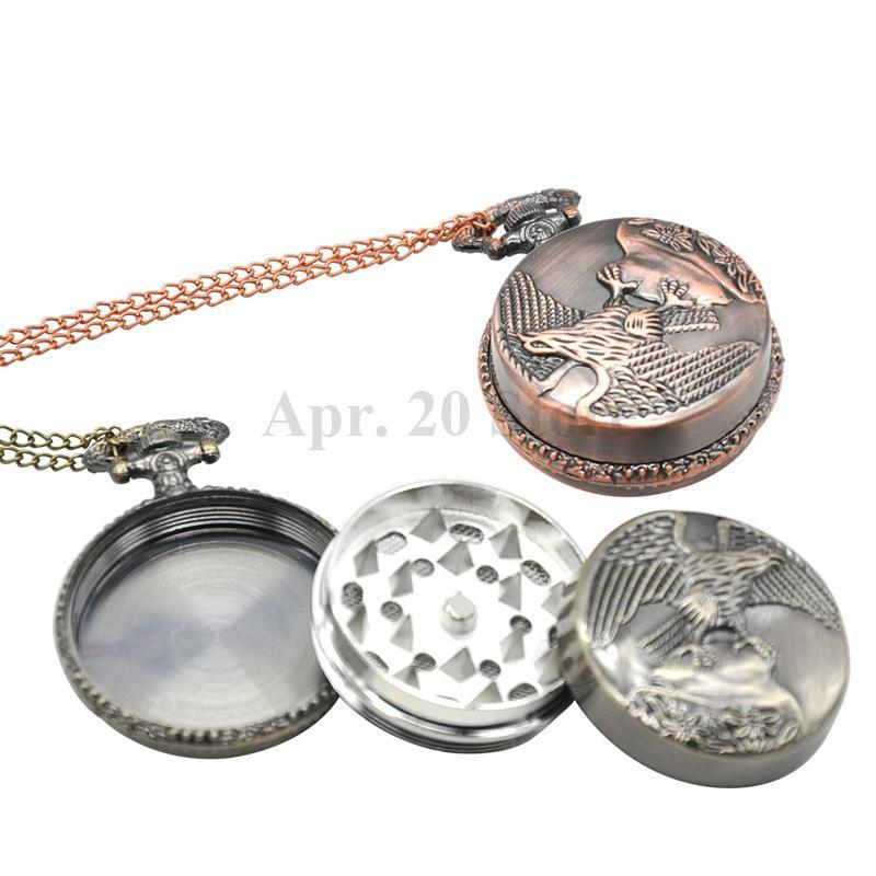 Металлические карманные часы Орел сигарета трава мясорубку 3 слоя Херб Гриндер табака Дробилка Херб Grinder специй GR046