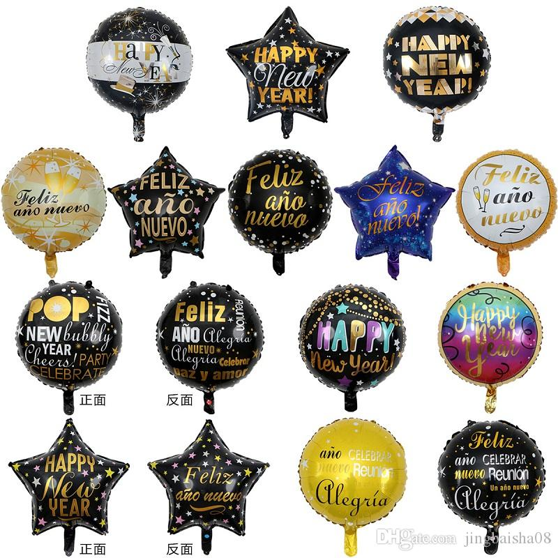 2020 Happy New Year Decoration Foil Balloons Black Gold ...
