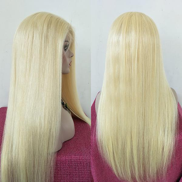 Virgin Human Hair 613 Blonde Silk Top Lace Wigs Straight Natural Hairline Bleached Knots Baby Hair Around For Women