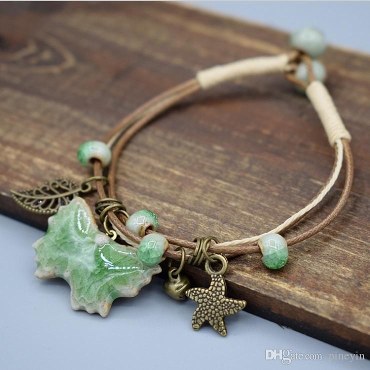 10pcs/lot trendy Ceramic beads bracelets charm bracelet 18 styles for options fashion jewelry model no. NE931-2