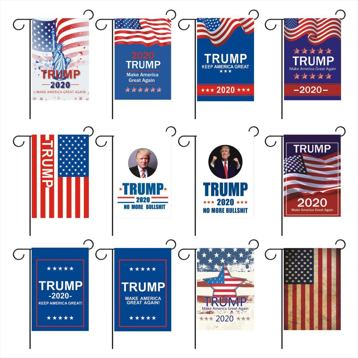 New Trump Jardim Bandeiras Presidente Geral Eleição da bandeira 2020 Bandeira Trump poliéster pano plástico Flagpole Pennant bandeira Flags 30 * 45cm