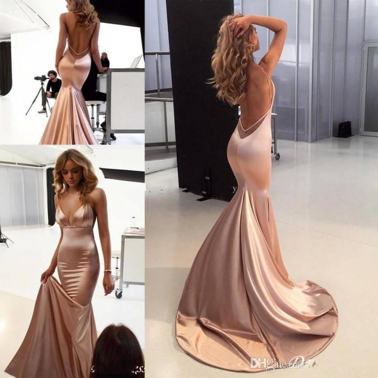 Sexy Rose Gold Evening Dresses 2020 spaghetti Backless Sweep Train Backless Simple Stain Mermaid Occasion Red Carpet Prom Gowns Cheap