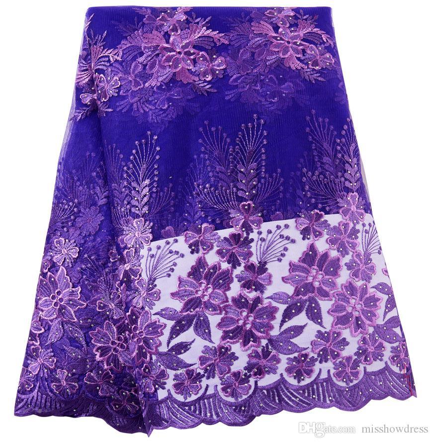 Roxo Laço Francês Tecido Frisado Tecido de Renda Africano de Alta Qualidade Rendas Bordado Tecido para Nigeriano Vestidos de Baile de Formatura