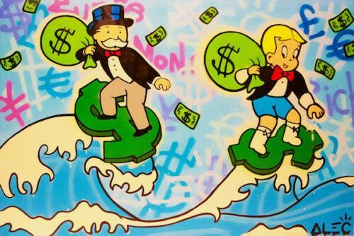 Pinturas de aceite de impresión Alec Monopoly pintada decoración art Surf dinero Decoración pintada a mano de alta definición en la lona Wall Art Imágenes 200204