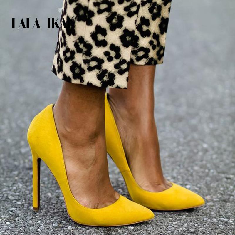 LALA IKAI Женщины насос замши Faux Основные сандалии Solid Colors 2020 скольжению на высоких каблуках сандалии 10CM Femme Sexy Насосы 014C0474 -3 T200525